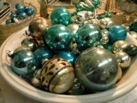 Vintage Blue-green and Silver Mercury Glass Xmas
