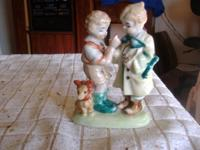 MADE IN OCCUPIED JAPAN, VINTAGE TWO BOYS LOOKING AT ONE