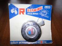 Vintage Chrome US Flag Push Lever Bell by CycleRama,