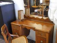 Vintage two door, two drawer vanity with partitioned