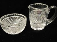 Vintage 1970 Waterford Crystal Sugar Bowl and Creamer.