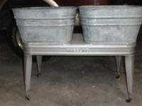 Vintage Wheeling Galvinized Double Wash tub.  Made by
