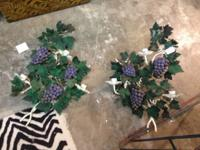 "Vintage White and Grape Iron Scones. 23"" x 13"". $85"