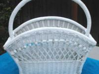 For Sale: Vintage White Wicker Basket with handle. This