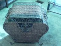 Vintage WICKER CHEST/ TRUNK/ HAMPER WITH BRASS