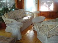 Original white wicker living room or patio set. Has