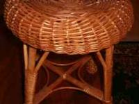 "Vintage Wicker Stool. Measures 13"" High x 12"" Wide."