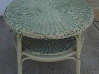 This is a Antique Painted Light Jadeite Green Wicker &
