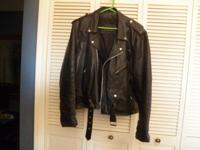 Vintage Wilson Motorcycle coat. Heavy Black Leather ~
