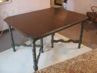 Vintage Wood Dining Room Table: 54 inches long by 42