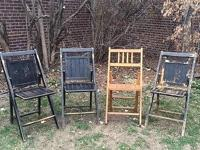 Beautiful set of vintage wooden folding chairs. Three