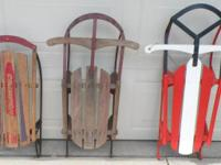 "Vintage Wood Sleds Red and White Champion - 39"" Royal"
