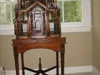 Crafted mahogany wood bird cage and stand. Classic
