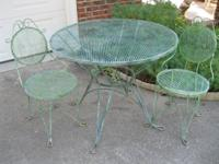 -- 1960's table and 2 chairs - - fantastic patina with