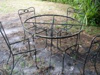 vintage iron garden table with glass top nice design