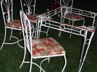 Really nice vintage iron Patio Table and 4 matching