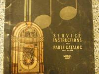 Vintage Service And Parts Manual For Model 1015