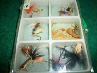 Vintage '60's fishing fly assortment box.One melted