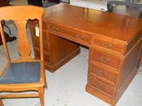 Featured Item Vintage 7 Drawer All Wood Desk & Chair