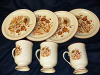 Vintage Coffee mugs (3) and matching cake plates (4).