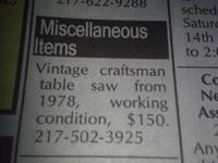 Vintage craftsman table saw from 1978 working condition