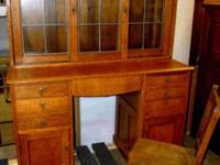 Vintage Desk with Lead Glass Sliding Door on Hutch &