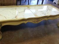 Vintage French Provencal Marble Top Coffee Table $125