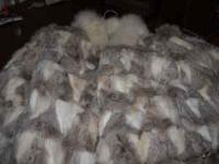 Vintage dyed rabbit fur and fox tail coat great like