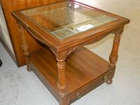Featured Item Glass Top End Table w/ Drawer Pre-Owned