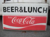 Up for sale is a vintage lighted coca cola sign. Sign