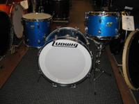 Ludwig Early 1970's Downbeat Blue Sparkle Drumset.