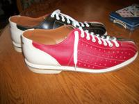 Vintage Mens Bowling Shoes AMF Red White and Blue Color