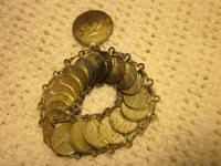 Genuine vintage mexican coin bracetet, with 22 coins,
