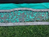Vintage iron and wood park bench back. Measures 16""