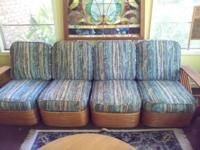 VINTAGE PAUL FRANKL RATTAN 4 SECTIONAL SOFA, 2 CHAIRS,