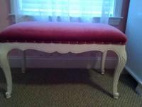 Vintage Romantic French painted wooden bench w. Perfect