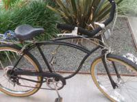 Here is a Vintage Black 1983 SCHWINN Cruiser-5-Speed