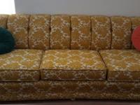 1971 Gold & Ivory walnut frame sofa and loveseat on