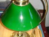 Vintage Style Table Lamp, Brass Accent, Green Glass