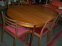vintage teak 1960s danish modern style table and 6