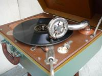 This 1930s Phonola Record Player spins 10inch, 78 rpm