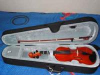 New ¼ nature wood Violin. My son only used it once and