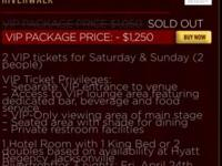 2 VIP tickets for Saturday & Sunday (2 people) VIP