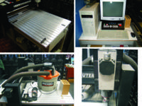This CNC router features a router head, engraving head,