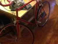 This is a classic steel frame road bike with horned