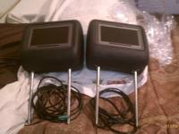"2 black leather 7"" headrests for a mercedes benz. Comes"
