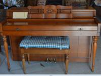 BEAUTIFUL ONE OWNER, WURLIZER SPINET PIANO WITH ALL