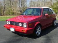 1989 VW Cabriolet -- Tornado Red with White Top and