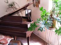Vose & Sons baby grand piano with ivory keys