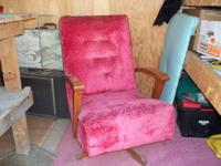 CRUSHED RED VELVET CHAIR,SWIVELS AND ROCKER COMBO WITH